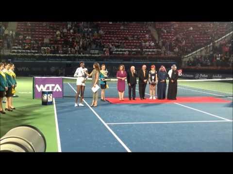 Venus Williams trophy presentation ceremony at the 2014 Dubai Duty Free Tennis Championships
