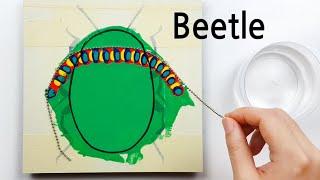 (311) Beetle | Chain pull technique | Masking tape | Fluid Acrylic Pouring | Designer Gemma77