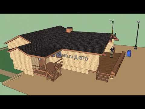 Одноэтажный деревянный дом Д-870 от Ростерн #строительство #дизайн #брус #бревно #стройка