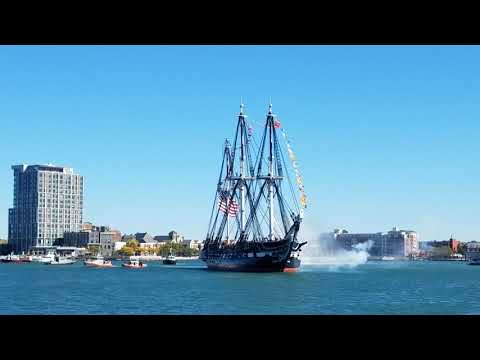 Old Ironsides firing cannons
