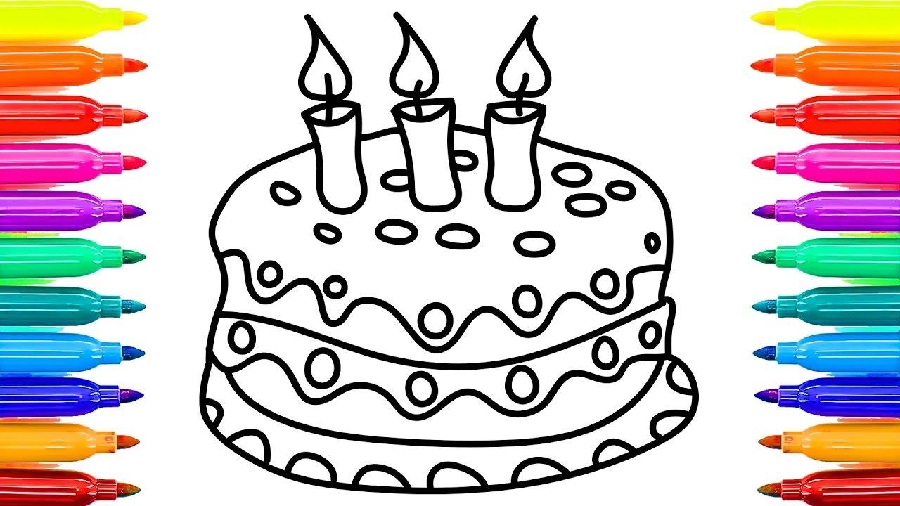 Pastel para colorear páginas con hermosas velas Videos para niños ...