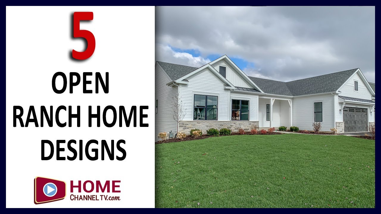 Five Beautiful Custom Ranch Home Designs - Walk-through Tours - Open Concept House Design Ideas