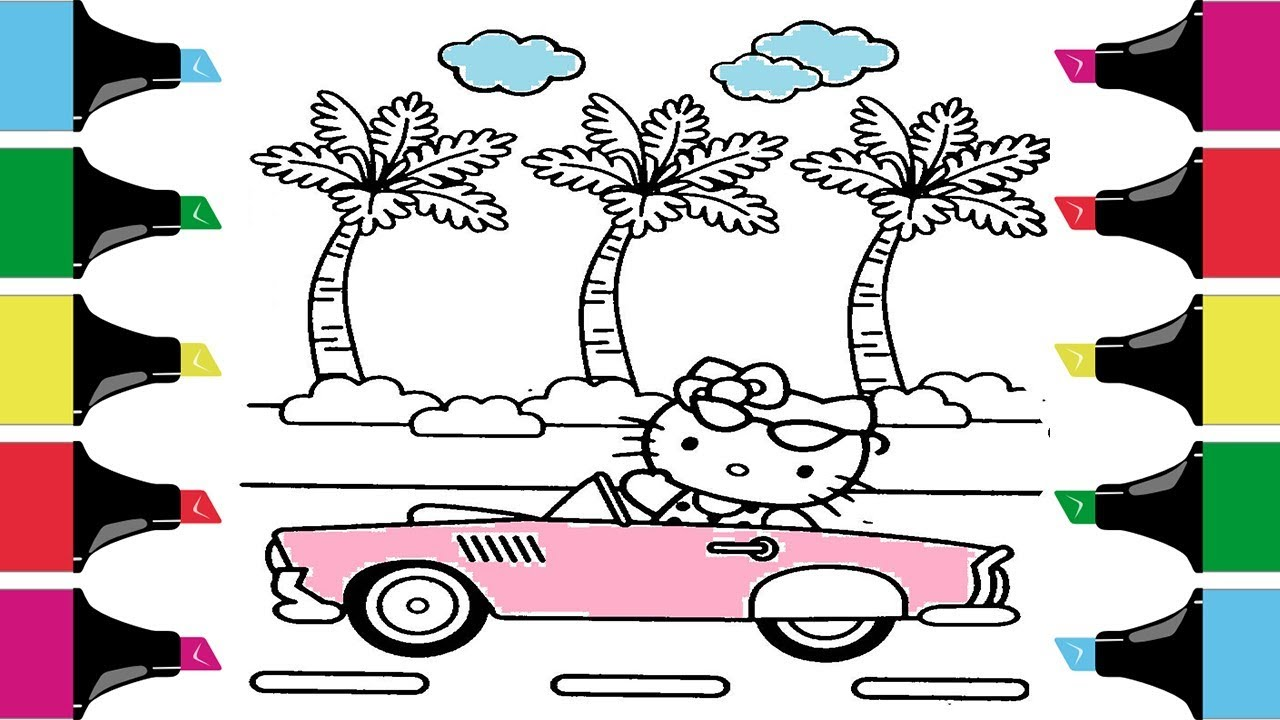 Hello kitty coloring pages kids cartoon coloring pagesyoutube videos for children