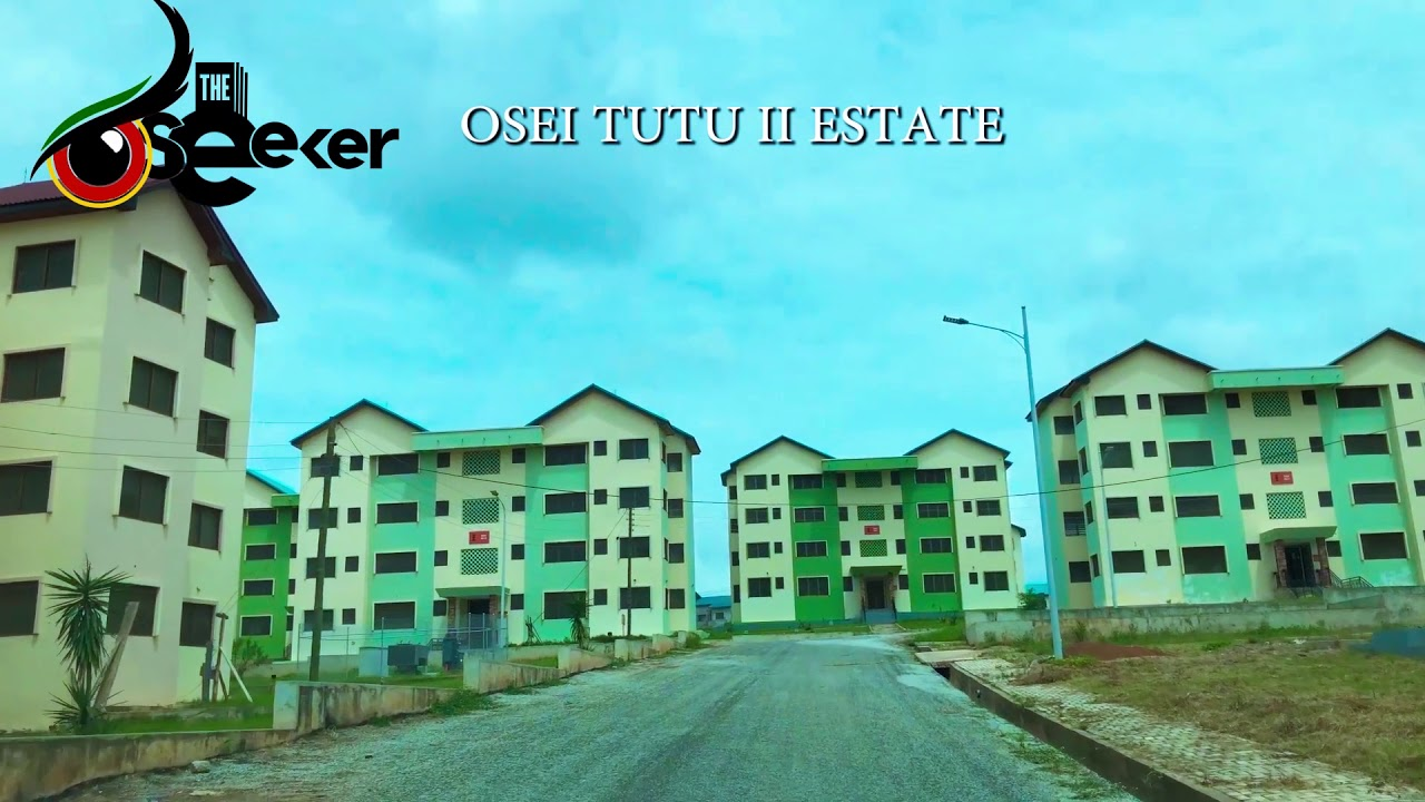 Affordable Housing Project Drive and Aerial View at Asokore Mampong in Kumasi, Ghana.