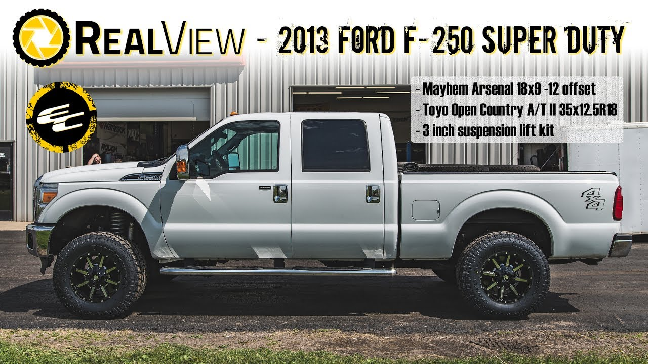 "2017 Lifted F350 Dually >> RealView - Lifted 2013 Ford F-250 w/ 18"" Mayhem Arsenals & 35"" Toyo Open Country A/T IIs - YouTube"