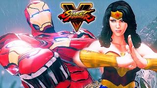 Street Fighter 5 - IRON MAN vs Wonder Woman (MARVEL vs DC) Gameplay PC Mod @ 1080p (60ᶠᵖˢ) HD �