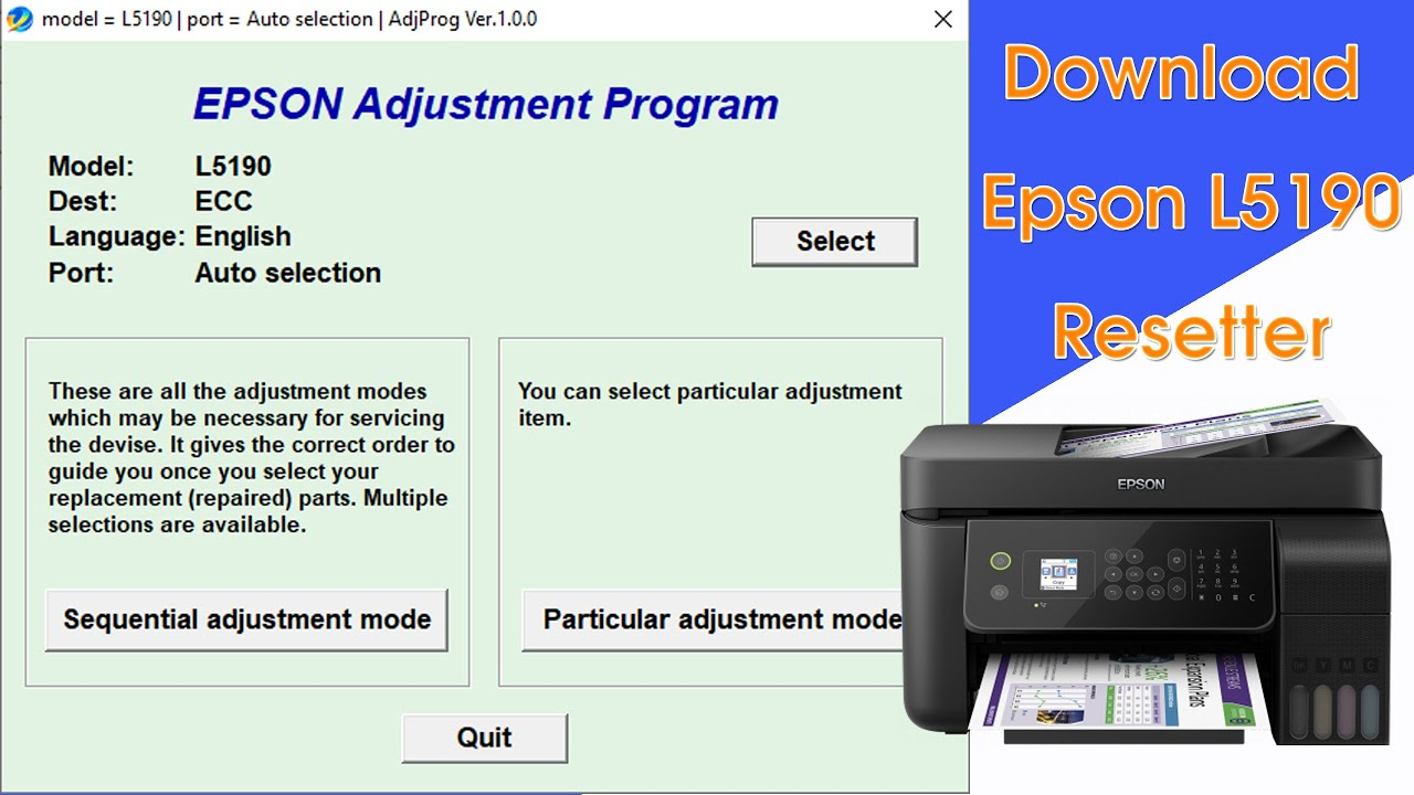 Download Epson L5190 Resetter Tool Solve Epson L5190 Service Required Error