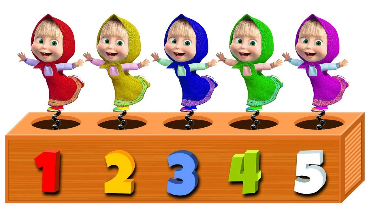 Learn Colors and Numbers with Masha and The Bear for Children - Wooden Face Hammer Toy for Kids