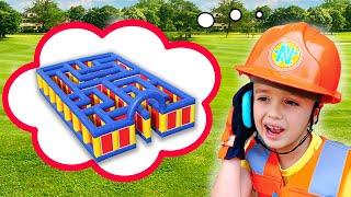 Niki in Giant Inflatable Maze Challenge