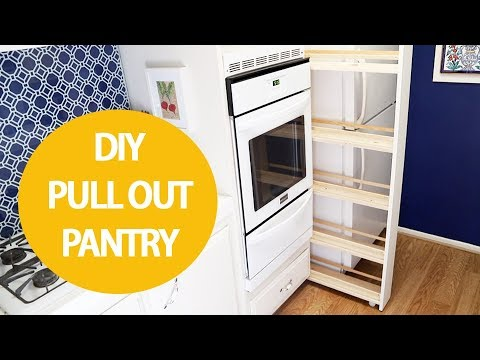 Even if you're renting this DIY pull out kitchen storage cabinet will help you organize your kitchen