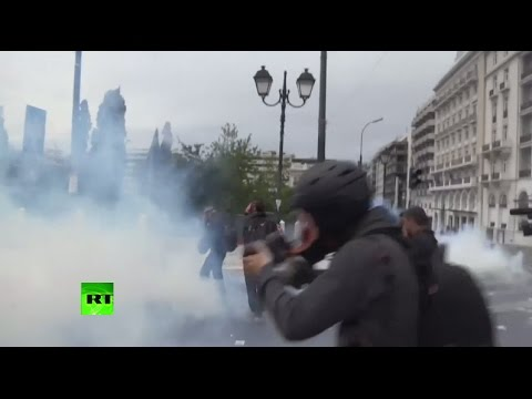 RAW: Greek anti-austerity protests erupt in violence