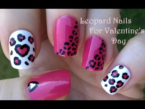 Pink leopard nails for valentines day heart nail art by dotting pink leopard nails for valentines day heart nail art by dotting tool prinsesfo Choice Image