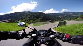 Cruising the Swiss Alps on the Honda cbr500r - Alpine mountain roads in summer
