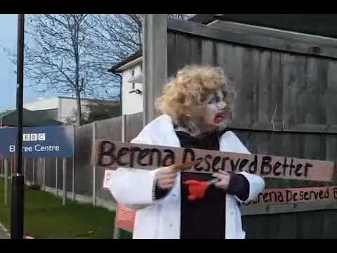 Berena Sad clown Protest outside BBC Elstree studios Jan 2019