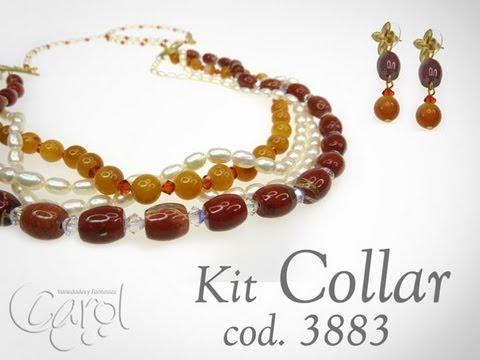 Como hacer un collar con piedras y perlas kit 3883 youtube for Como hacer color piedra