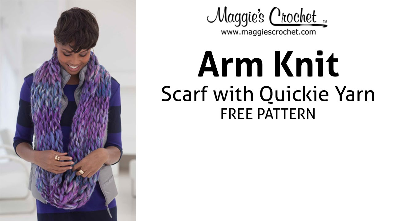 Lion Brand Quickie Arm Knit Scarf Pattern - YouTube