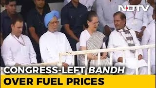 Rahul Gandhi Leads Oppositions Bharat Bandh Over Fuel, Rupee