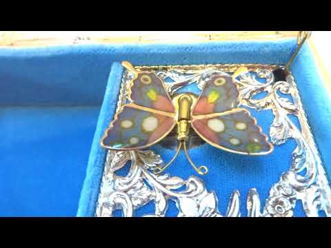 Vintage butterfly automaton musical jewelry box