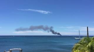 Cargo ship fire off the coast of Roatan Honduras Sunday August 14, 2016