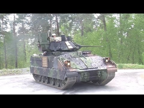 US Army - M2A3 & M3A3 Bradley IFVs Live Firing At Exercise Combined Resolve II [1080p]