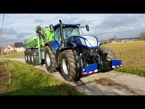 New Holland t7.315 hd BLUE POWER CRASH system in action with Joskin euroliner