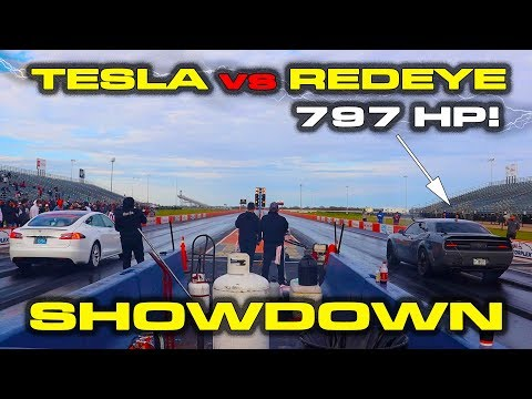 797HP HELLCAT REDEYE GOES TO SCHOOL * Tesla Model S vs Dodge Hellcat RedEye Drag Racing