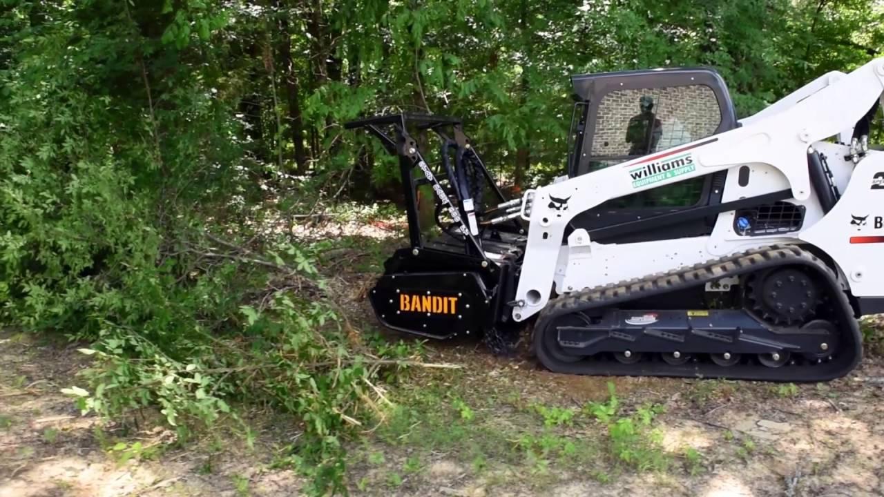 Bobcat T 770 skidsteer tracked loader with Bandit Forestry Mulcher demo