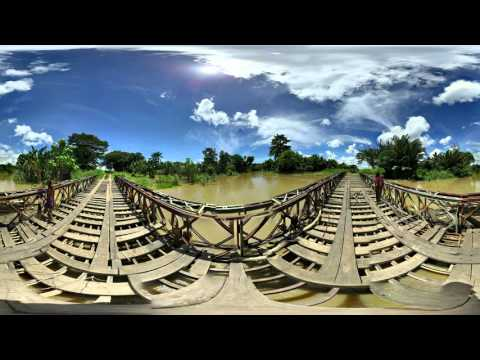 360 Video - Bridge over flooded river, East Sepik Province, Papua New Guinea