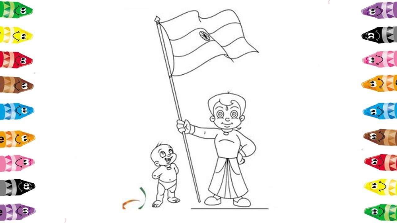 Chota bheem with india flag drawing and colouring book for kids ...