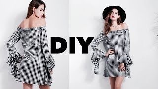 DIY// HOW To Make An Off-Shoulder Dress With Bell Sleeves //How to take your measurements