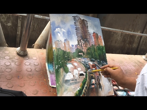 Watercolor painting – after the rain by Prashant Sarkar.
