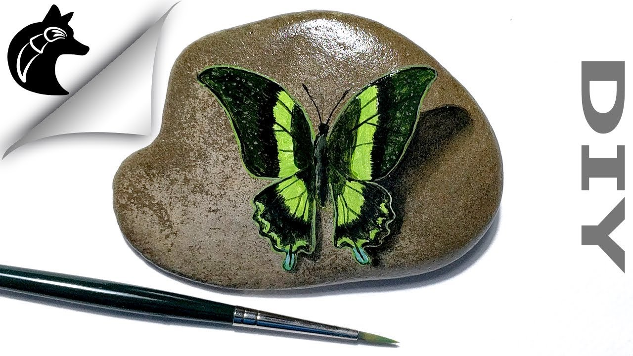 How To Paint A Butterfly On A Rock Rock Painting Youtube