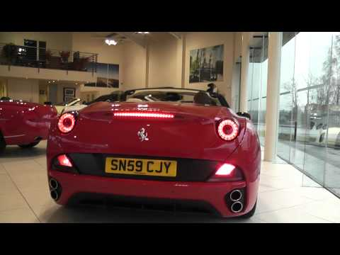 Ferrari California F1 Start-up, Roof action and Revs (Bentley Glasgow)