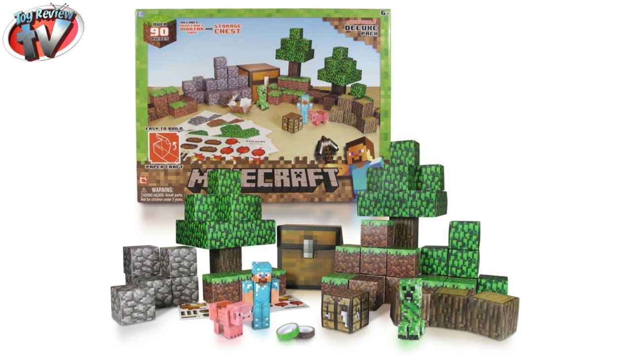 Papercraft Minecraft: Overworld Deluxe Pack Papercraft Toy Review, Jazwares