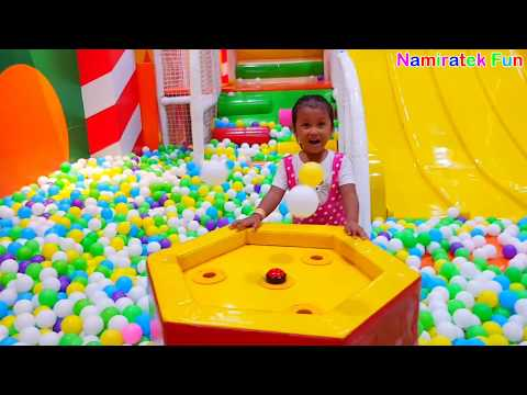 Indoor Playground Fun for Kids Ball Pits Slides to Rainbow Colors Balls