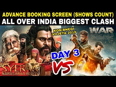Sye Raa Vs WAR Movie Advance Booking Occupancy Day 3 | India