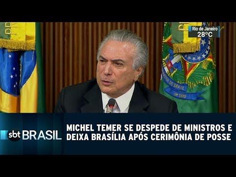 Michel Temer se despede de ministros em Brasília após cerimônia de posse | SBT Brasil (01/01/19)