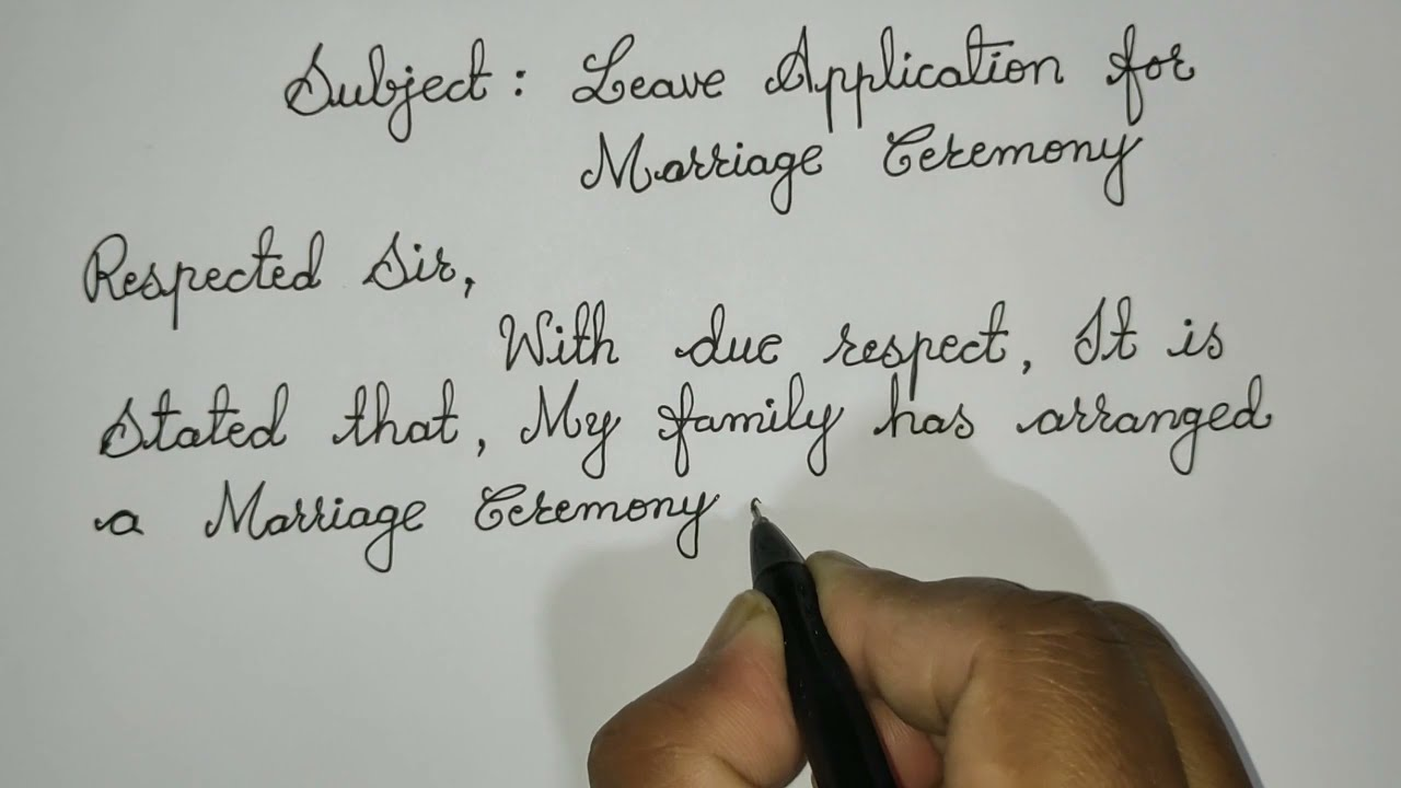 Repeat One Week Marriage Leave Application for School / Letter