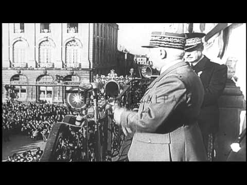 French Marshal Philippe Petain addresses a crowd from the balcony of a building i...HD Stock Footage