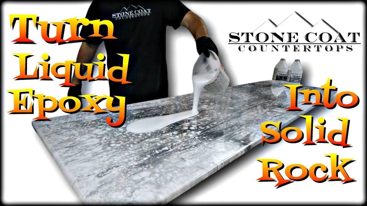 Turn Liquid Epoxy into Solid Rock epoxy countertop diy