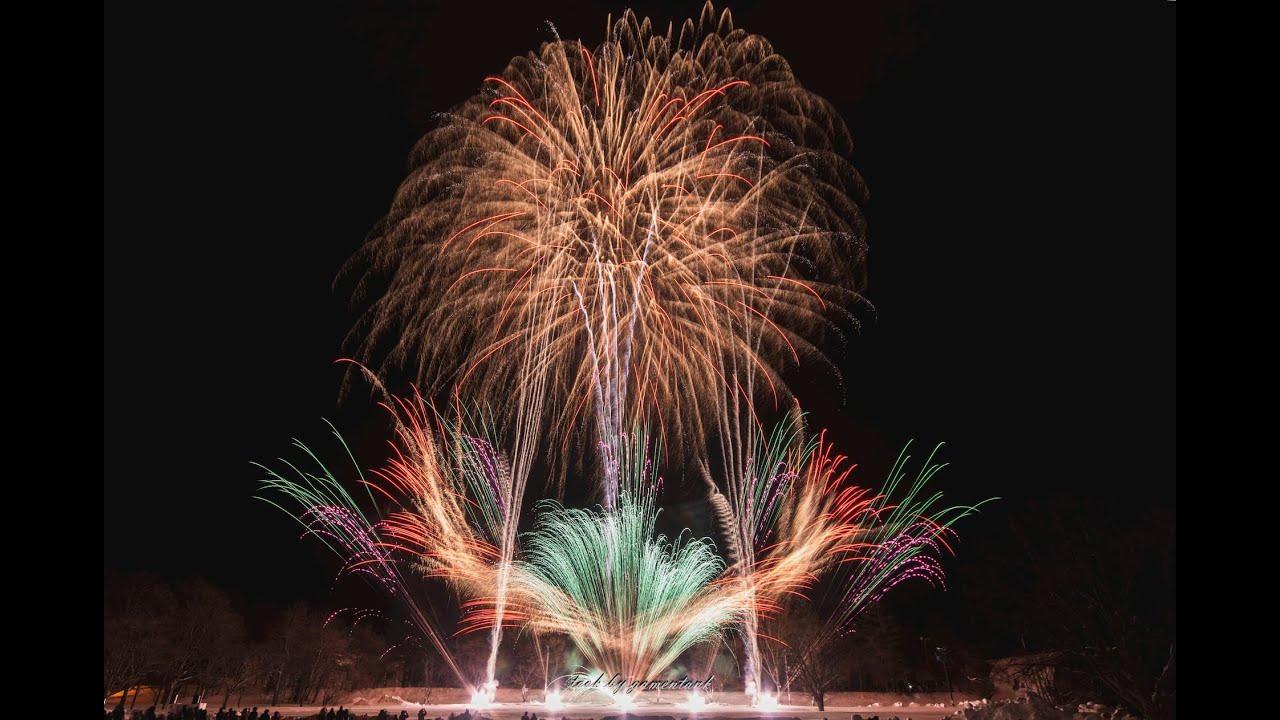 光と音が彩る冬花火 in 十和田湖