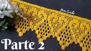 🌻 Puntilla para Servilletas y Toallas #92. Barrado em croché 2/2