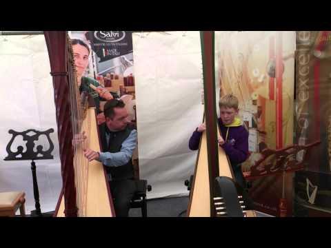 Rhys Whatty impromptu harp duet Eisteddfod 2013.