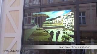 Projekce do výlohy | rear projection | Bronze film | projector Panasonic 6000ANSi