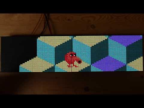 Dual 64x32 RGB LED Matrix Arcade Clock With ESP32