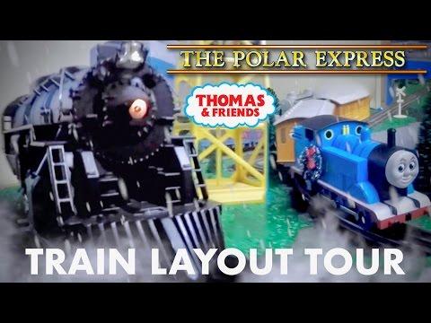 Train Layout Tour - With The Polar Express & Thomas The Tank Engine