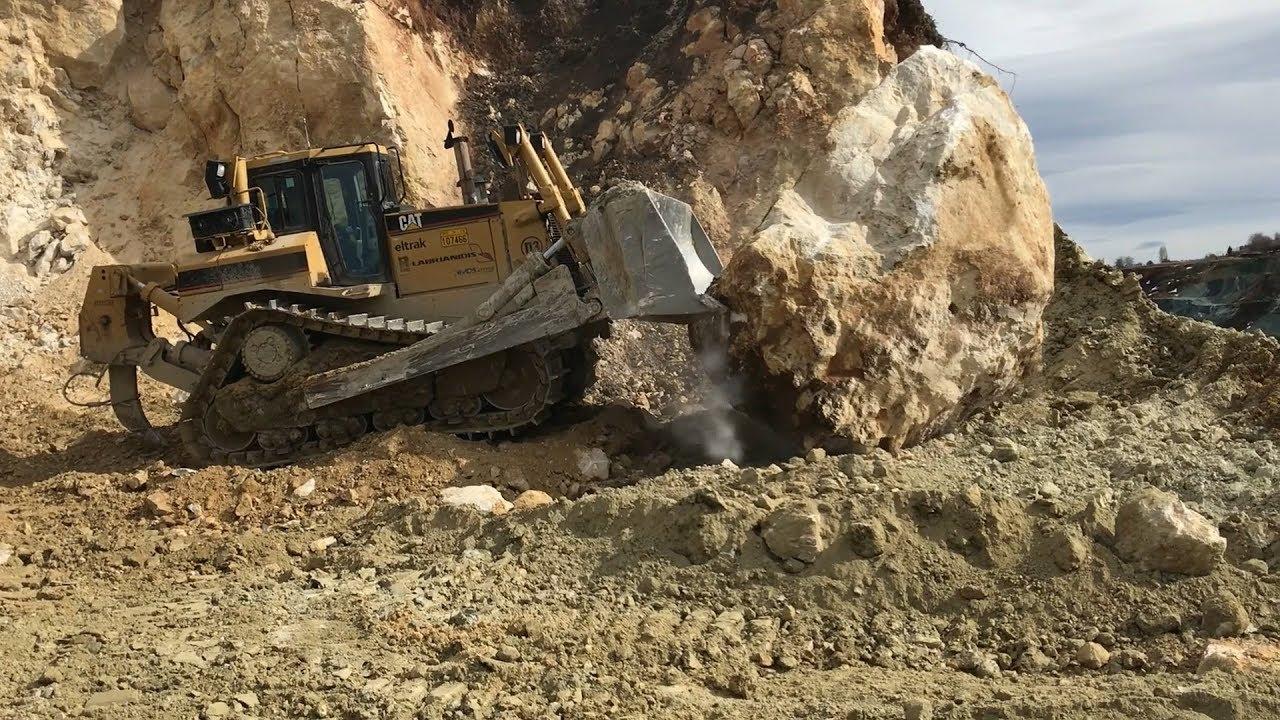 Cat D8T Bulldozer Pushing Huge Rocks - Labrianidis SA
