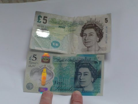 BRITISH POLYMER PLASTIC 2016 FIVE POUNDS BANKNOTE