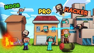 Minecraft - FAMILY HOUSE WARS! (NOOB vs pRO vs HACKER)