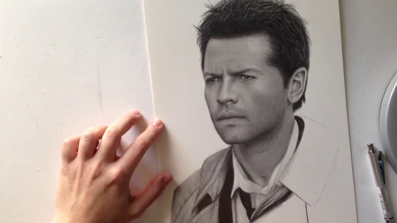 castiel pencil drawing youtube